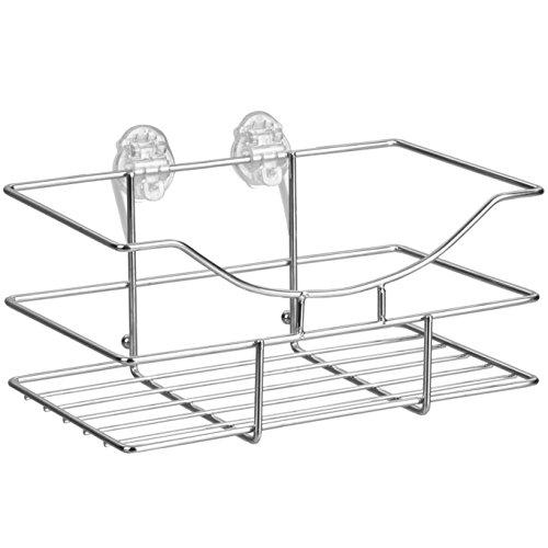TROP Universalkorb aus rostfreiem Edelstahl mit schraubenloser Befestigung für Bad und Küche - ohne Bohren / Duschablage / Duschkorb - mit 2 Jahren Geld-zurück-Garantie
