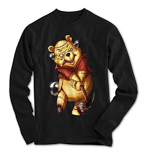 Herren Longsleeve T-Shirt Killer Pooh Cartoon Golf Teddy Bär