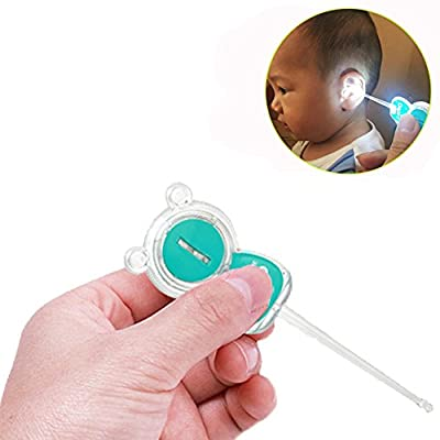Kids Baby Safe Ear Wax Pick, TTMOW Ear Cleaner Earpick Spoon, Earwax Remover with LED Lighting, Earwax Removal For Baby Care