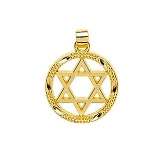 Kabbala Israel Gelbes Gold überzogener Eingeschlossen Stern von David Anhänger jüdisch jüdisch Charm 20