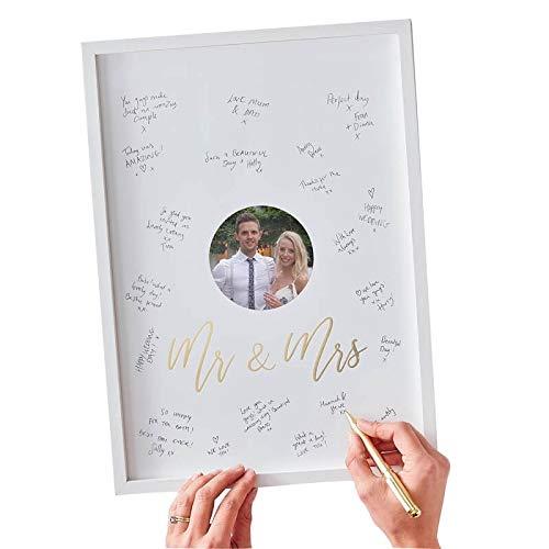 Gäste-Buch-Alternative Holz-Rahmen MR & MRS Weiß & Gold - Hochzeit-s-Gäste-Buch Hochzeit Standesamtliche Trauung Accessoires & Zubehör