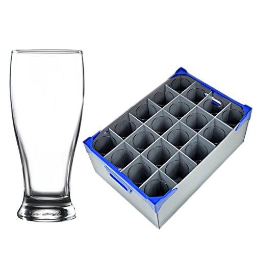 Verre à bière 56.5cl / 20 oz et Verrerie boîte de rangement (Glassjack)   20 Pint Lunettes et 1 Verrerie stockage Crate