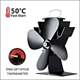 Stove Fan 4 Blade,Extended Fan Blade and Small Size-High Quality Black Anodized Aluminum