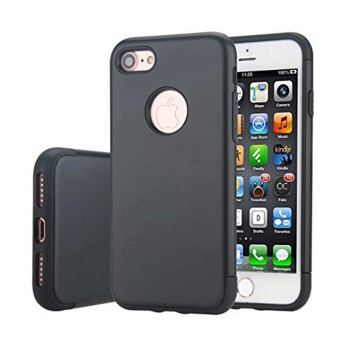 MOONCASE iPhone 7 Hülle Hybrid Dual Layer TPU +PC Handyhülle Rugged Armor Defender Case Anti-scratch Tasche Schutzhülle für iPhone 7 4.7 Inch Rose Gold Schwarz