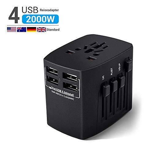 HANPURE 2000W Reiseadapter, Universal Reisestecker, Travel Adapter mit 4 USB 3.0 Anschluss, Internationale Ladegeräte für Deutschland, USA, UK, Spanien, Kanada, Kuba, Japan über 200 Ländern, Schwarz