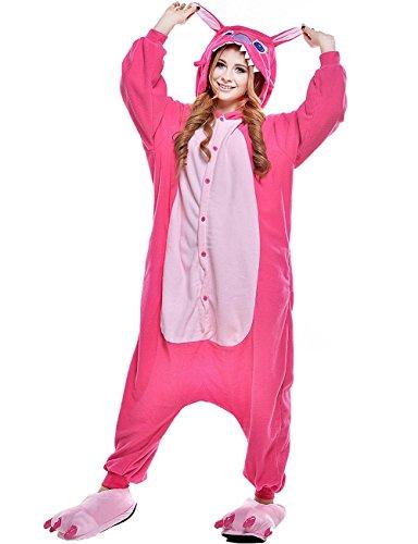 Winter Warm Flanell Unisex Einteiler/Pyjama für Erwachsene Stitch Pyjama,rose,S - Rose Flanell-pyjama