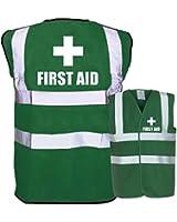 'First Aid' Printed Green Enhanced Safety Vest Waistcoat Hi Viz/Viz - Festivals/Conference/Business/Workplace