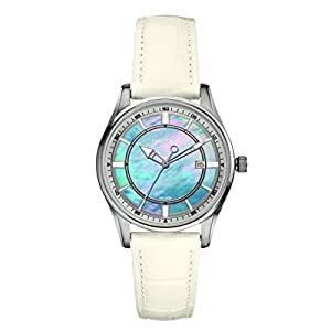 Nautica Women's Quartz Watch with Blue Dial Analogue Display and White Leather Strap A12592M