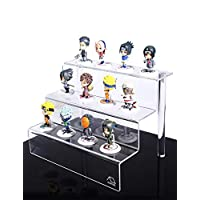 WINKINE Display Riser, 3 Step Figure Display Stand Clear Acrylic Riser Stand Shelf for POP Figures, Cupcakes, Nail Polish