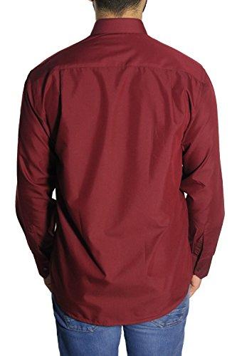 MUGA Homme Chemise à manches longues, légèrement cintrée Bordeaux