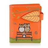 Shagwear Junge-Damen Geldbörse, Small Purse Designs: (Parkbank Orange/The Park Bench)