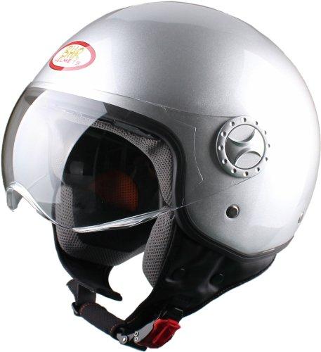 BHR Helm Demi-Jet, Silber, 57-58 (M) - vom Hersteller eingestellt