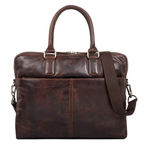 STILORD \'Emilio\' Umhängetasche Leder Vintage groß Schultertasche Elegante Handtasche für Büro Business Arbeit Laptop 13.3 Zoll Aktentasche DIN A4, Farbe:Mocca - Dunkelbraun