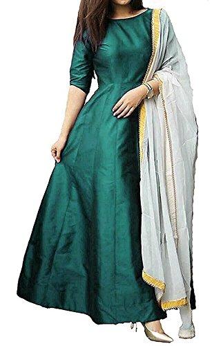 Fragrance Trendz Women's Tapeta Silk Anarkali Gown FANCY Seagreen_Free Size