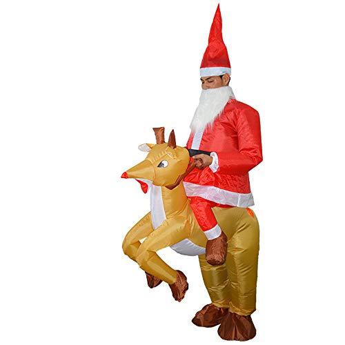 Kostüm Weihnachtsmann Aufblasbarer - Decdeal Weihnachten Aufblasbares Kostüm Weihnachtsmann Reitet Rentier für Party Fasching Cosplay (Erwachsene)