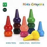 Finger Wachsmalstifte für Kleinkinder, Ungiftig 12 Color Kids Buntstifte, Waschbar Palm-Grip Wachsmalstifte von Apicallife