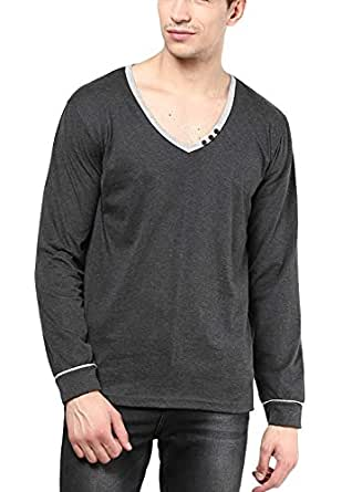 IZINC Men's V-Neck Full Sleeve Cotton T-Shirt [808_Dark Grey_Small]