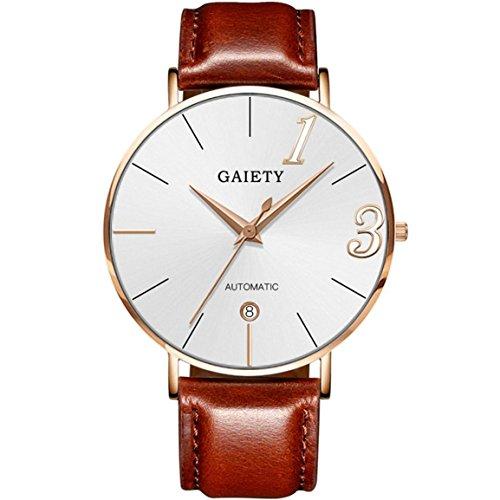 e Paar Uhr Lederband Linie Analog Quarz Damen Armbanduhren Geschenk, Runde komplette Kalender Edelstahl Uhr, Valentinstag Geschenk (Braun, Männer) ()