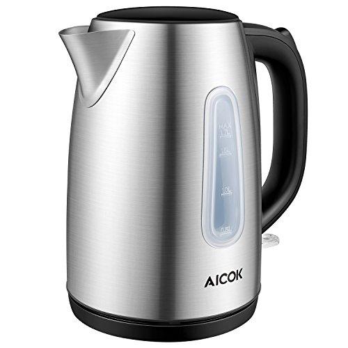 Aicok Hervidor de Agua Eléctrico 1.7L, Hervidor de Agua Indicador Visible y Mango Fresco al Tacto, Pretección de Ebullición en Seco y Apagado Automático, 2200W Negro