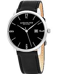 Stuhrling Original Mens Womens Black Dial Japanese Quartz Dress Minimalist Designer Wrist-Watch 8 mm Slim Stainless Steel Case Horween Custom Made In USA Artisan Leather Strap Unisex Design