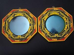 Bagua-Spiegel, Schutz vor passiver negativer Energie & Schutz vor aktiver schädigender Energie, Holzrahmen, Durchmesser 7,5cm, Durchmesser insgesamt