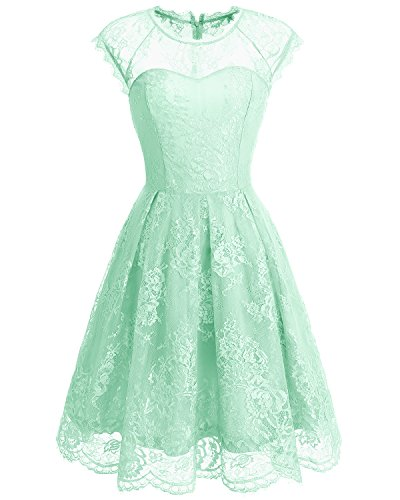 Bbonlinedress Damen Vintage 1950er Cocktailkleid Retro Rockabilly Spitzenkleid Festlich Abendkleid Mint L