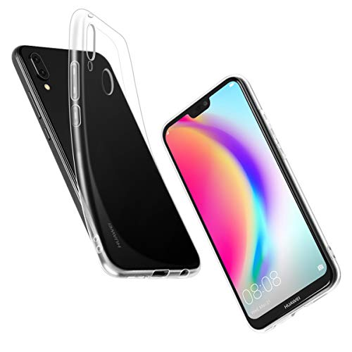Lite Schale (Huawei P20 Lite Hülle, Elzo [Kristall] Klar Ultra dünn Handy Schutzhülle/Abdeckung/Hülse/Schale, Durchsichtige Silikon TPU - Transparent/Schützend/Weich/Ultra Hybrid/Schock Absorption/Kratzfest)