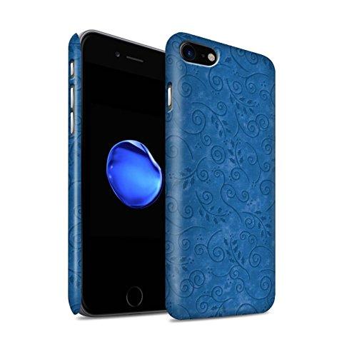 STUFF4 Matte Snap-On Hülle / Case für Apple iPhone 8 / Pack (8 pcs) / Blatt-Strudel-Muster Kollektion Blau