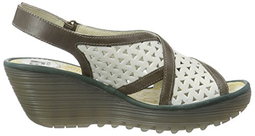 FLY London Yopp647fly, Sandales  Bout ouvert femme Multicolore - Mehrfarbig (OFFWHITE/DK GREY/PETROL 003)