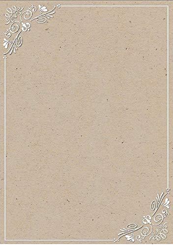 ratis Brief-Papier DIN A4 Briefbogen Ornament elegantes VINTAGE Kraftpapier-print braun-beige Motivpapier 100 g/m² ()