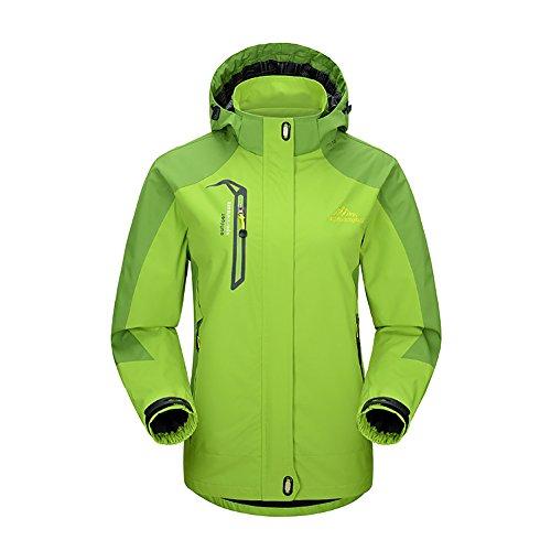 iBaste Outdoorjacke Damen Regenjacke mit Kapuze Softshelljacke damen Bergsteiger Jacke Wasserdicht atmungsaktiv Wanderjacke-GR-2XL