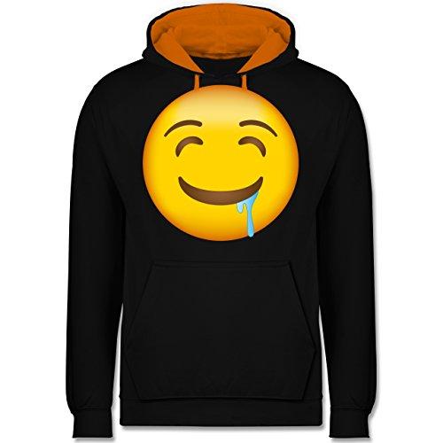 Comic Shirts - Emoji Wasser im Mund - Kontrast Hoodie Schwarz/Orange