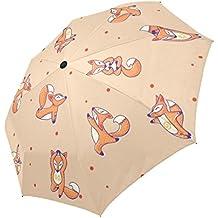 lalkio Personalized Funny Cute Fox lunares paraguas automático paraguas de viaje plegable resistente al viento UV Protección compacto paraguas