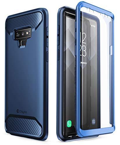 Clayco Samsung Galaxy Note 9 Hülle [Xenon], Robust Case Ganzkörper Handyhülle, Bumper Schutzhülle Cover mit Integriertem Displayschutz für Samsung Galaxy Note 9, Blau