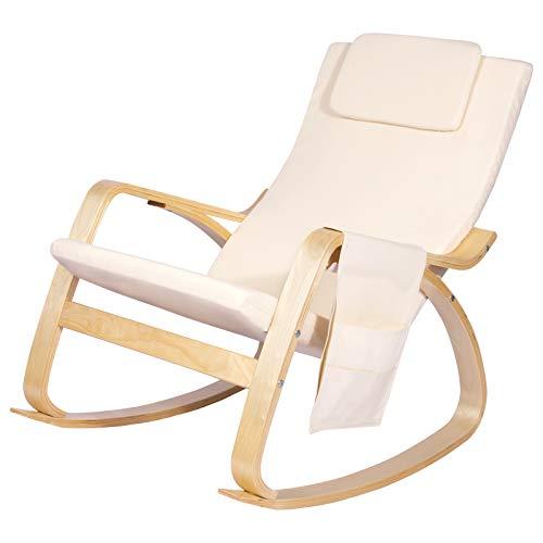 SITU SRC0008 Schaukelstuhl Schwingsessel Relaxstuhl mit Kopfstütze und Seitentasche Leinen Holz Cremeweiß