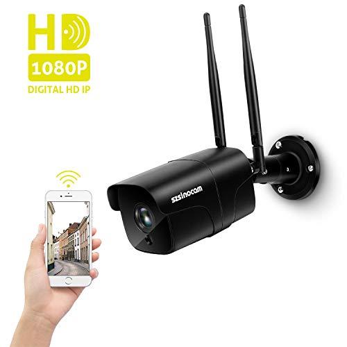 Überwachungskamera 1080P HD, WLAN IP Kamera für Außen mit LAN & WLAN Verbindung, Nachtsicht 25m, 2 Wege Audio, Fernalarm, Bewegungserkennung, Outdoor WiFi IP66 wasserdichte Sicherheitskamera, Onvif
