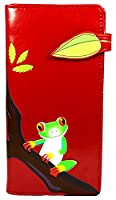 Shagwear Young Ladies Wallet, Large Purse: Various colors and designs: (Tree Frog Red)