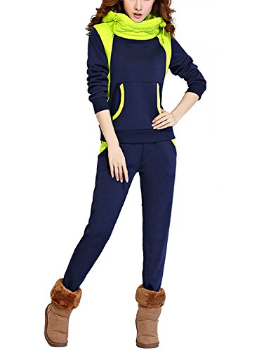 Angelwing Damen 2pcs Sportkleidung Hoodie Sportanzug Piles Kragen Jogginganzug Trainingsanzüge Streetwear Sweatshirt Kapuzenpullover + Hose (2 Farben S/M/L/XL/XXL)