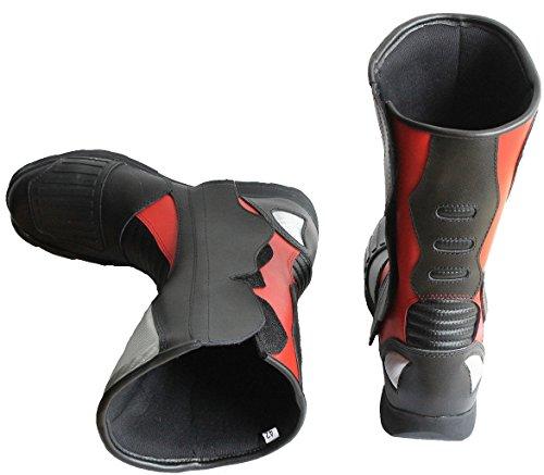 Lemoko Leder Motorradstiefel mit Kunststoffverstärkungen schwarz rot, Gr. 44 - 2