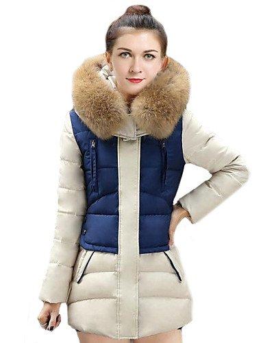 GS~LY Le donne della moda la giunzione grande pellicce collare sottile lungo Down Coat(più colori) , blu , l