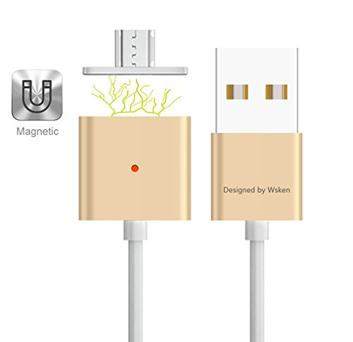 "WSKEN [Android Version] WSKEN 2.4A ""Fast Charging"" Xcable Magnetisches USB Ladekabel Datenkabel mit 2xMicro USB Adapter Ports für Android Smart Handys & Tablets, Samsung Galaxy S6/S6 Edge/S6 Edge Plus/Note 5/Note 4/S5/S5 mini/Alpha/Note Edge/Galaxy Tab/Huawei Mate S/Mate 7/Honor 7/Honor 6/LG G4/G3/ Nexus 6P/5X/5,Powerbank, Bluetooth Lautsprecher,Tablet und andere Geräte mit Micro USB Anschluss, Voll Aluminium (Gold)"