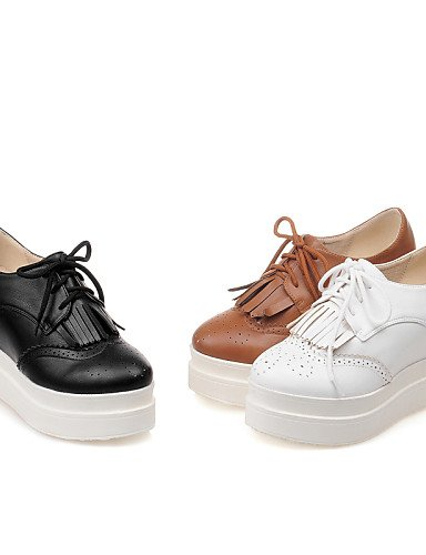 ZQ hug Scarpe Donna - Scarpe col tacco - Formale - Punta arrotondata - Zeppa - Finta pelle - Nero / Marrone / Rosso / Bianco / Dorato , brown-us8 / eu39 / uk6 / cn39 , brown-us8 / eu39 / uk6 / cn39 white-us5.5 / eu36 / uk3.5 / cn35
