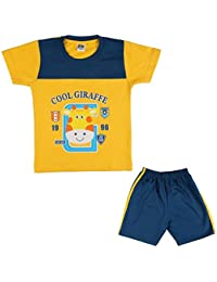 LK Vyapaar 2 Piece Partywear Kids Yellow Blue Tshirt Pant Combo Set for Boys Girls 0-3 Years Size-M-L-XL-XXL