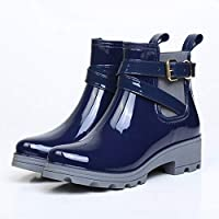 Women Waterproof rain Boots Short Glossy Boot Blue Waterproof Ankle Casual Footwear Goosn Original Chelsea Gloss Extra Light Wellington Boots Rainy Wellies Rain Snow Boots