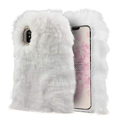 fake smartphones Urcover Apple iPhone X FELLCASE Fake Fur in Weiß | warm flauschig weich Plüsch Hülle | Fell Cover kuschelig | Kunst-Fell Schutz-hülle Smartphone Zubehör Back-Case Cover Tasche