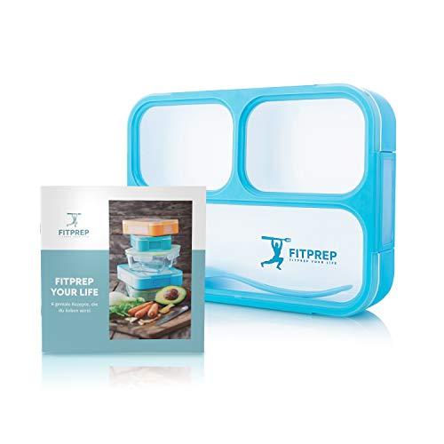 Original fitprep® lunchbox scatola porta pranzo contenitore ermetico bento box 3 scomparti + cucchiaio microonde bpa free