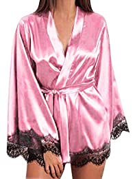 Pijama lencería Kimono Corto de satén de Estampado Encaje para Mujer,Bluelucon Kimono Mujer Batas