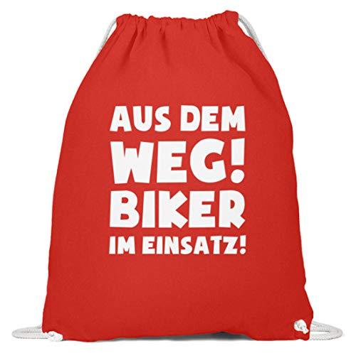 shirt-o-magic Motorradfahrer: Biker im Einsatz! - Baumwoll Gymsac -37cm-46cm-Hellrot -