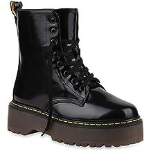 Damen Stiefeletten | Schnürstiefeletten Lack | Plateau Boots Profilsohle | Leder Optik Worker Boots | Zipper Blumen Übergrößen | Flandell®