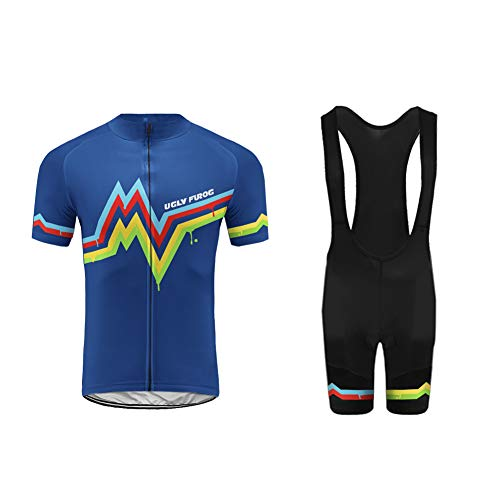 Uglyfrog Radsport Anzüge Herren Kurzarm Trikots+Bib Kurze Hosen Gel Pad Summer Cycling Kit Triathlon Clothes für Radsport Rennrad Einzigartig Designs